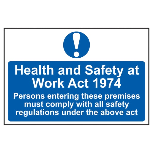Spectrum 'Health and Safety At Work Act 1974' Sign 200 x 300mm