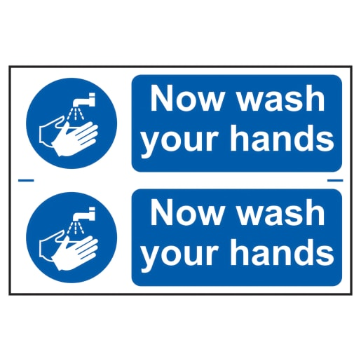 Spectrum 'Now Wash Your Hands' Sign Self Adhesive 200 x 300mm