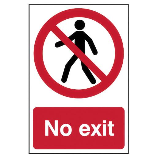 Spectrum 'No Exit' Sign Self Adhesive 300 x 200mm