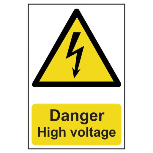 Spectrum 'Danger High Voltage' Sign Self Adhesive 300 x 200mm