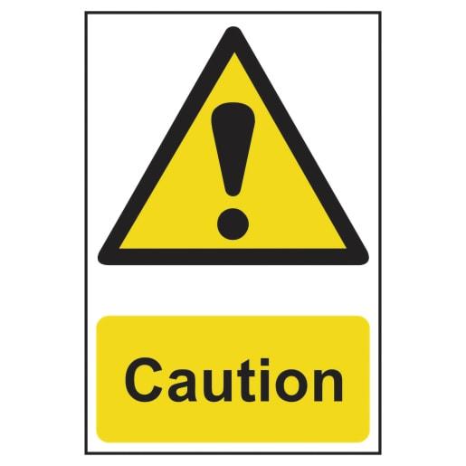 Spectrum 'Caution' Sign Self Adhesive 300 x 200mm
