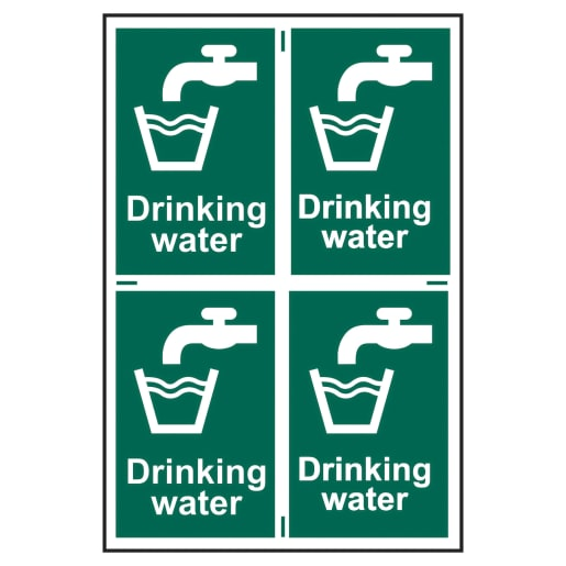 Spectrum 'Drinking Water' Sign Self Adhesive 300 x 200mm