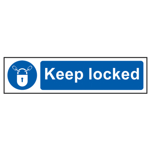 Spectrum 'Keep Locked Safety' Sign Self Adhesive 200 x 50mm