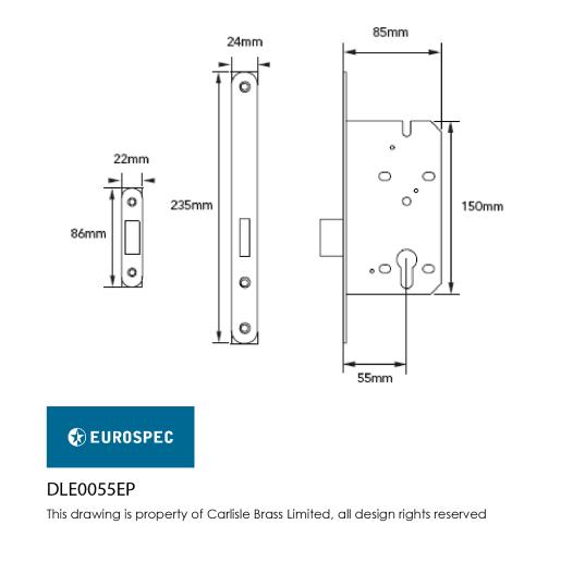 Eurospec Easi-T Contract Profile Deadlock 55mm L Satin Stainless Steel