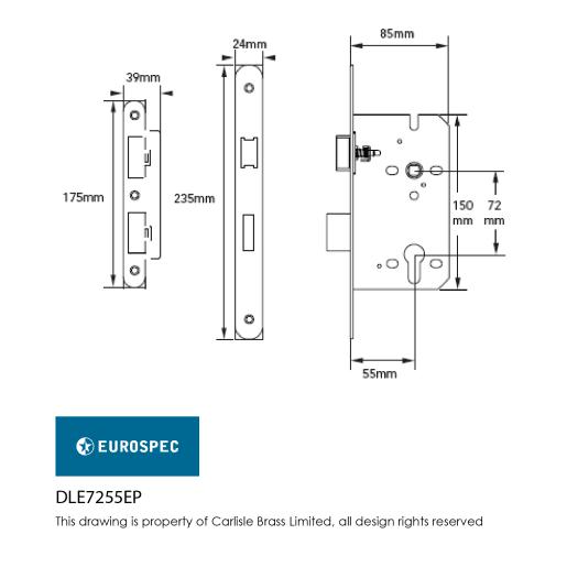 Eurospec Easi-T Contract Din Profile Sashlock 55mm L