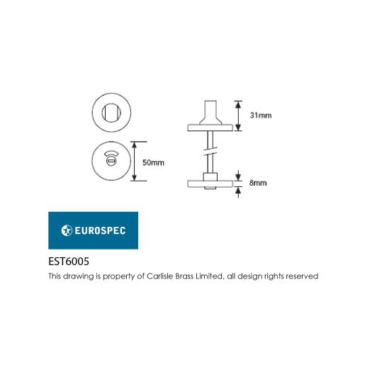 Eurospec Thumbturn and Release 8 x 52mm Polished Anodised Aluminium