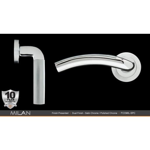 Fortessa Milan Lever Door Handles On Rose 127 x 51mm