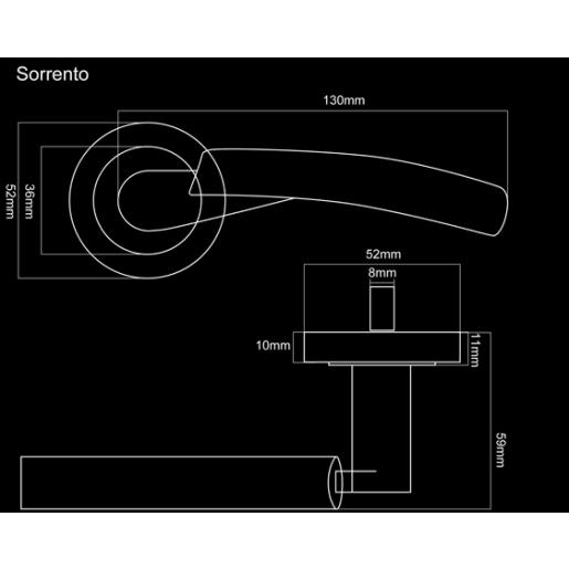 Fortessa Sorrento Lever Door Handles On Rose 135 x 51mm