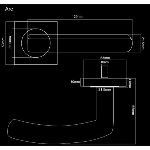 Fortessa Arc Lever Door Handles On Rose 129 x 53mm Polished Chrome