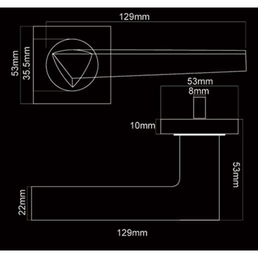 Fortessa Carrera Lever Door Handles On Rose 129 x 53mm Polished Chrome