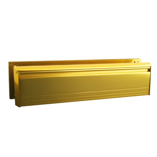Letterplate Metal Anti-Vandal Doors 300mm Gold Frame
