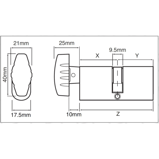 Union Turn Oval Cylinder Satin Chrome