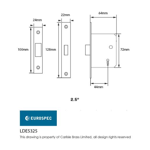Eurospec Easi-T Residential 3-Lever Deadlock 64mm W Electro Brassed