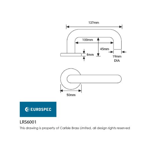 Eurospec Safety Lever On Rose Round Bar 19mm Dia