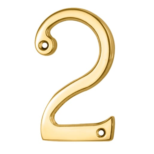 Carlisle Brass Numeral 2 Face Fix Number 75 x 44 x 4mm Polished Brass