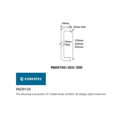 Eurospec D-Shaped Pull Handle 67 x 19mm Satin Anodised Aluminium