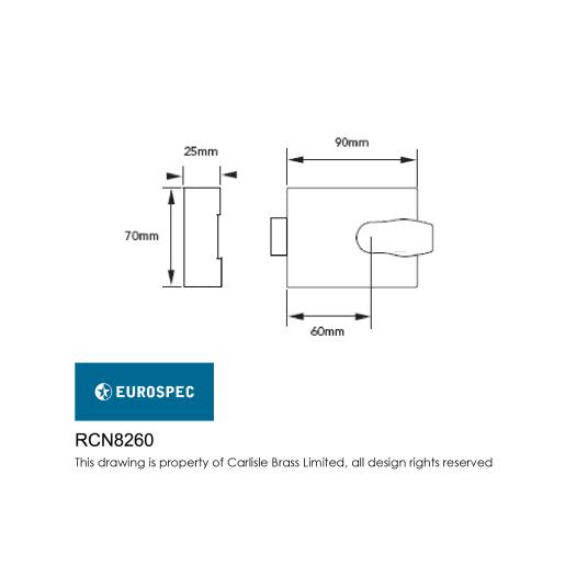 Eurospec Contract Rim Cylinder Nightlatch 60mm Backset Satin Chrome