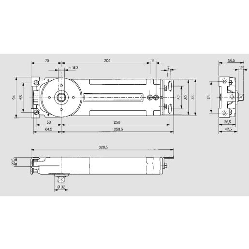 Dorma Non-Hold Open Transom Closer 328.5 x 94mm