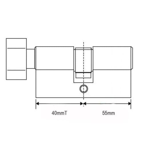 Trade Euro Profile 6-Pin Cylinder & Thumb Turn 40T/55 Brass 95mm